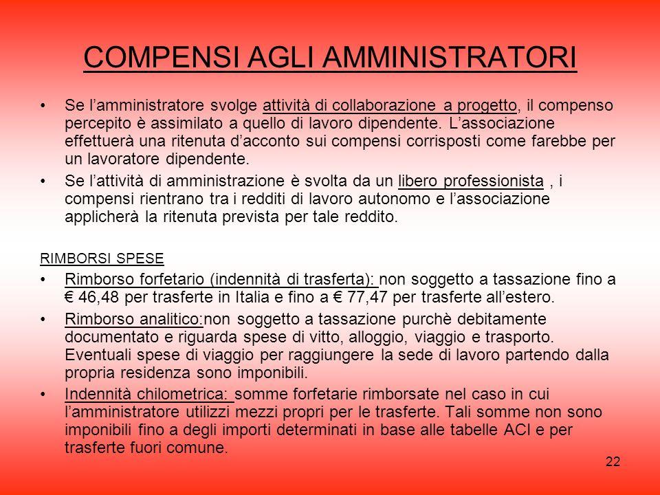 22 COMPENSI AGLI AMMINISTRATORI Se l'amministratore svolge attività di collaborazione a progetto, il compenso percepito è assimilato a quello di lavoro dipendente.