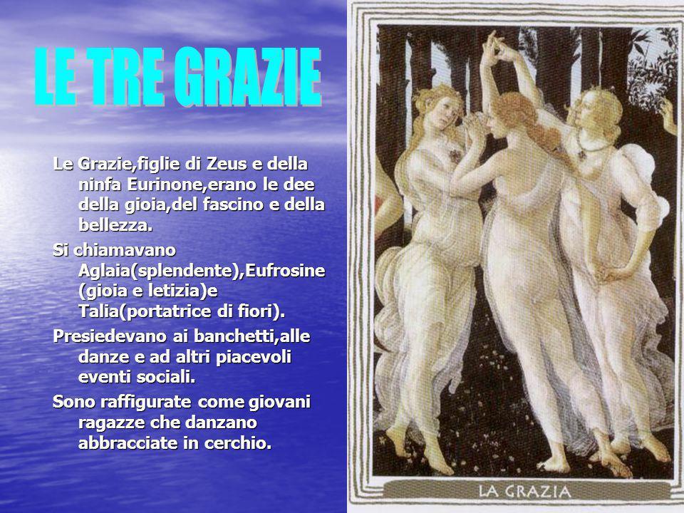 Le Grazie,figlie di Zeus e della ninfa Eurinone,erano le dee della gioia,del fascino e della bellezza. Si chiamavano Aglaia(splendente),Eufrosine (gio