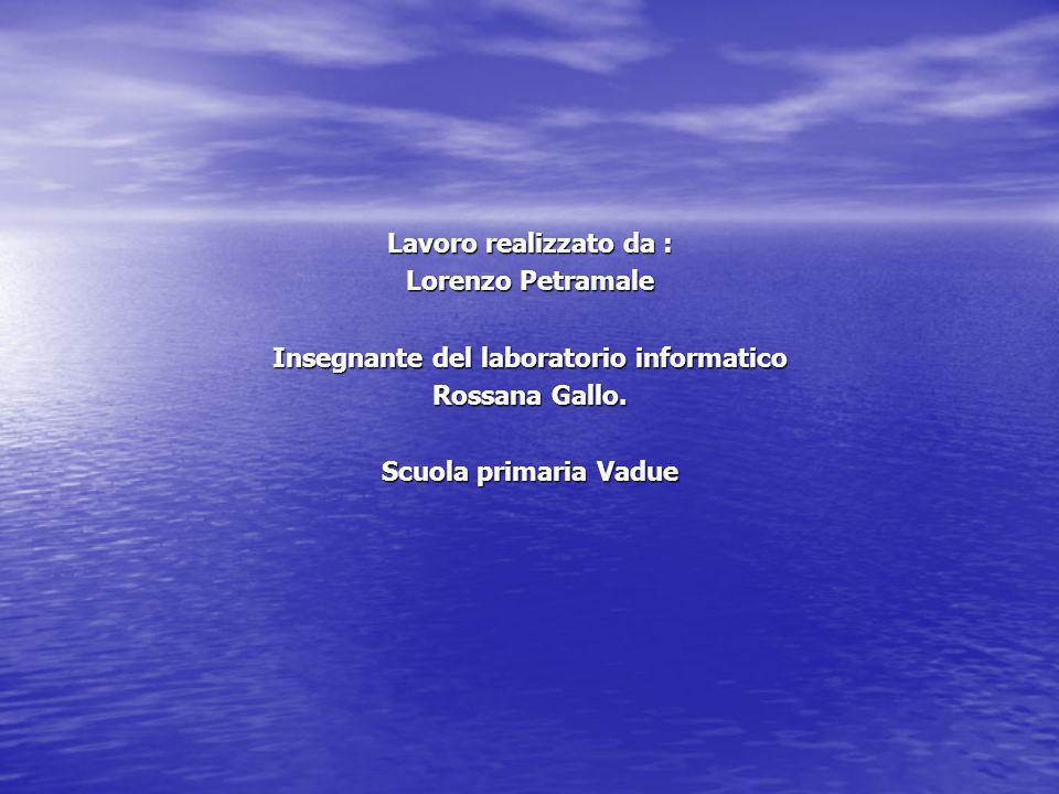 Lavoro realizzato da : Lorenzo Petramale Insegnante del laboratorio informatico Rossana Gallo. Scuola primaria Vadue