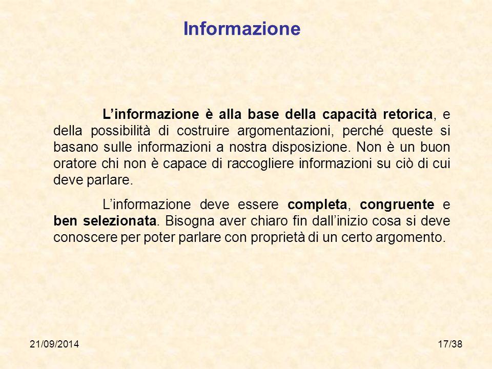 21/09/201417/38 Informazione L'informazione è alla base della capacità retorica, e della possibilità di costruire argomentazioni, perché queste si bas