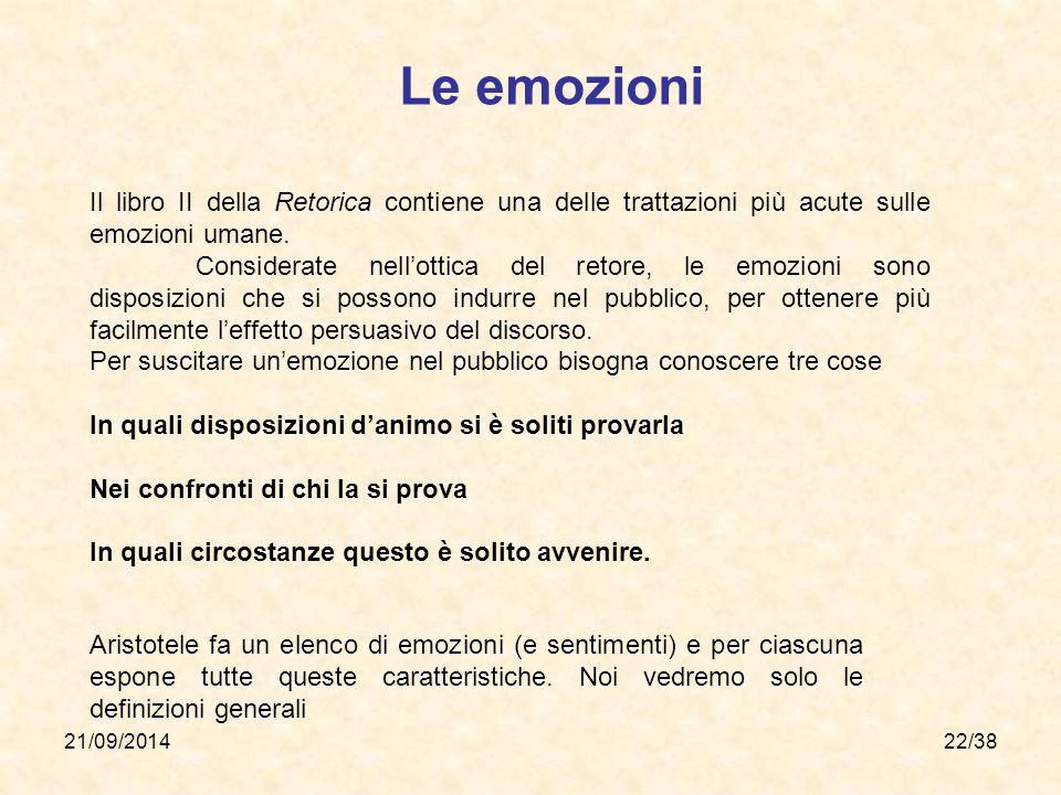 21/09/201422/38 Le emozioni Il libro II della Retorica contiene una delle trattazioni più acute sulle emozioni umane. Considerate nell'ottica del reto
