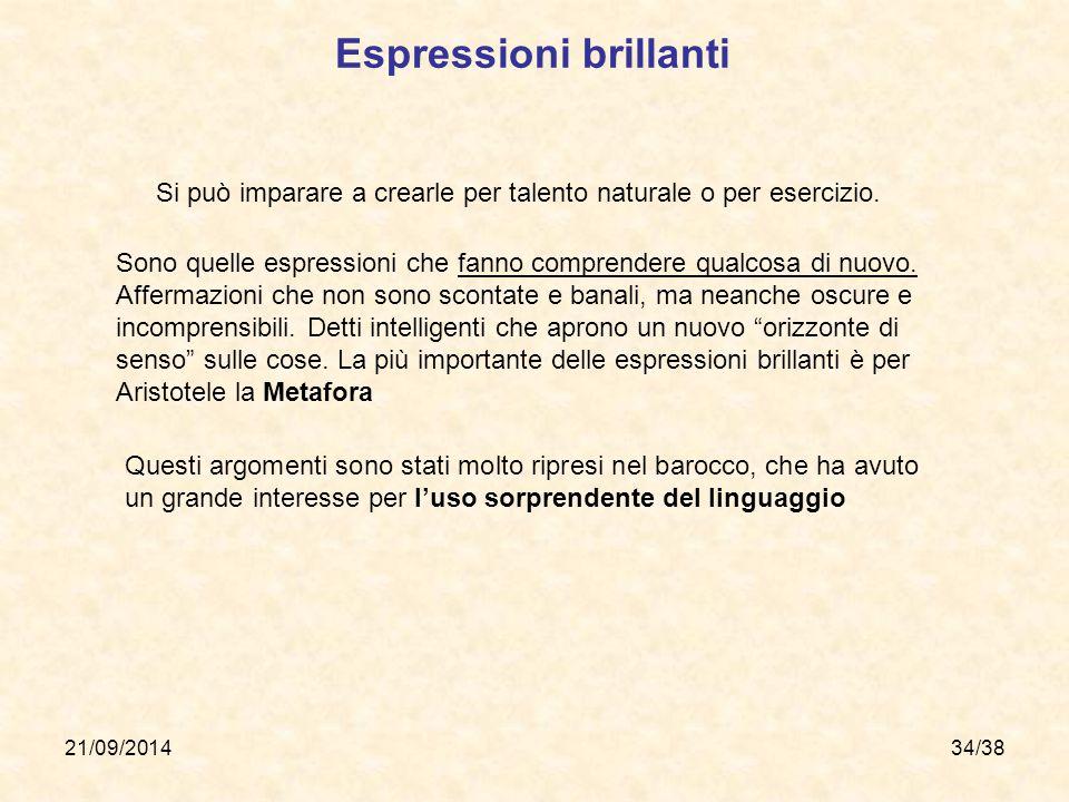 21/09/201434/38 Espressioni brillanti Si può imparare a crearle per talento naturale o per esercizio. Sono quelle espressioni che fanno comprendere qu