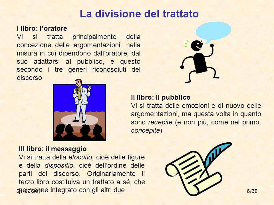 21/09/20146/38 I libro: l'oratore Vi si tratta principalmente della concezione delle argomentazioni, nella misura in cui dipendono dall'oratore, dal s