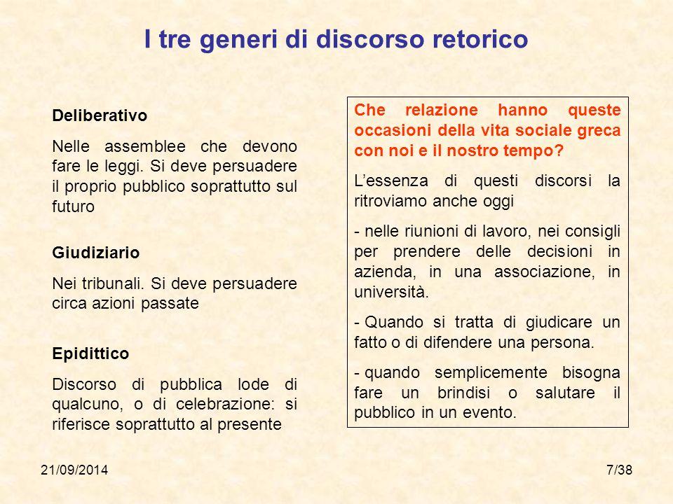 21/09/20147/38 I tre generi di discorso retorico Deliberativo Nelle assemblee che devono fare le leggi. Si deve persuadere il proprio pubblico sopratt
