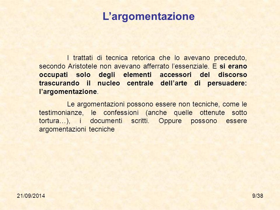 21/09/20149/38 I trattati di tecnica retorica che lo avevano preceduto, secondo Aristotele non avevano afferrato l'essenziale. E si erano occupati sol