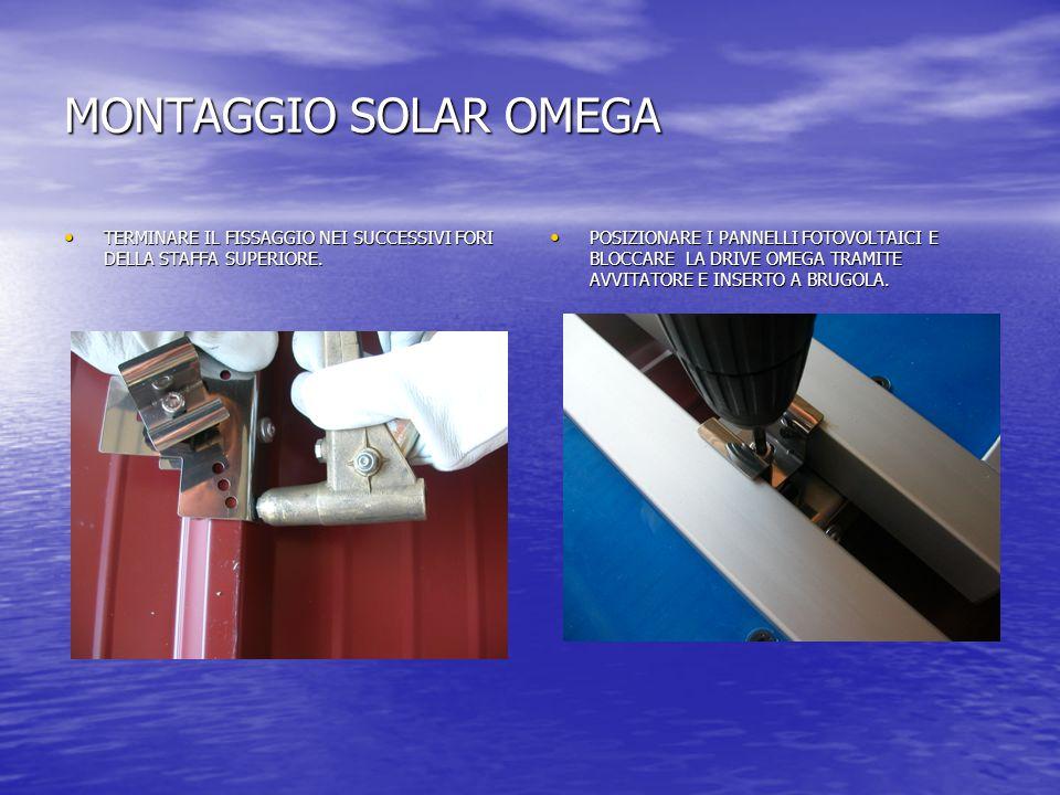 MONTAGGIO SOLAR OMEGA TERMINARE IL FISSAGGIO NEI SUCCESSIVI FORI DELLA STAFFA SUPERIORE.