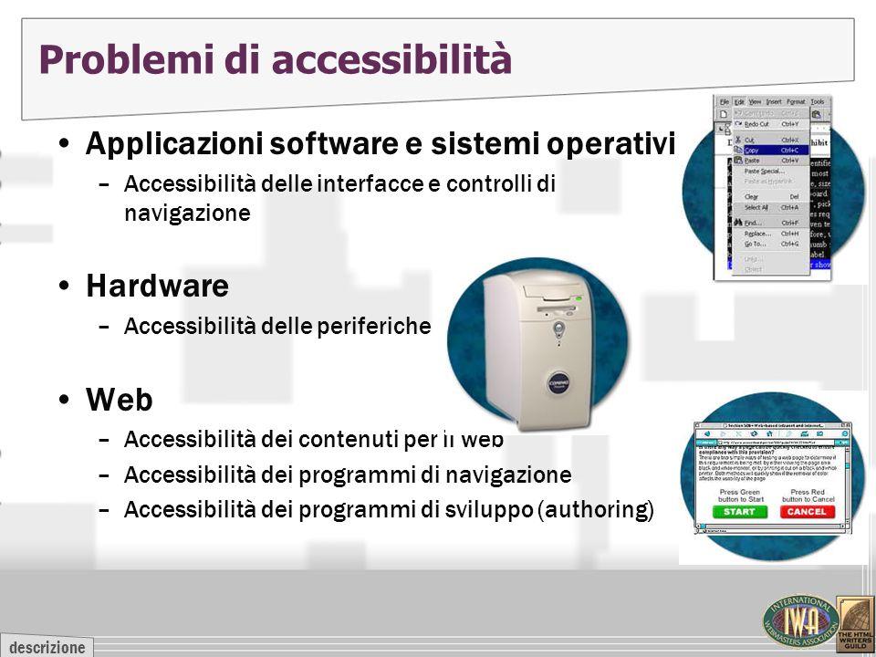 descrizione Problemi di accessibilità Applicazioni software e sistemi operativi –Accessibilità delle interfacce e controlli di navigazione Hardware –A