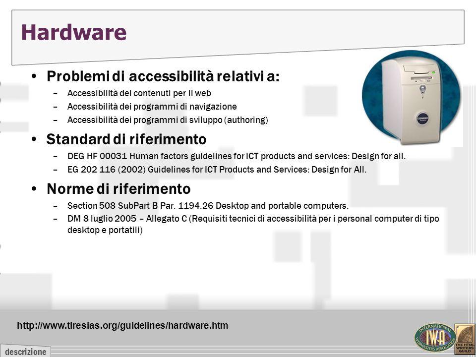 descrizione Hardware Problemi di accessibilità relativi a: –Accessibilità dei contenuti per il web –Accessibilità dei programmi di navigazione –Access
