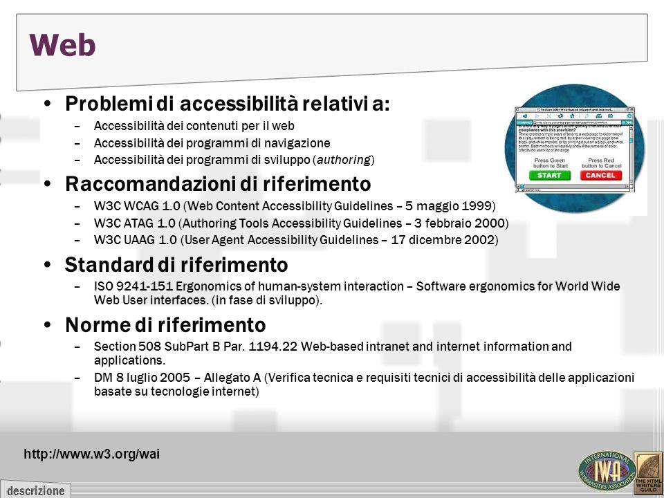 descrizione Web Problemi di accessibilità relativi a: –Accessibilità dei contenuti per il web –Accessibilità dei programmi di navigazione –Accessibili