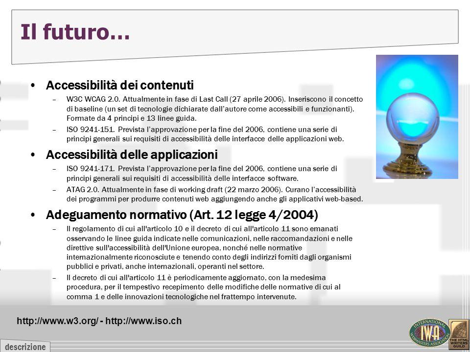descrizione Il futuro… Accessibilità dei contenuti –W3C WCAG 2.0. Attualmente in fase di Last Call (27 aprile 2006). Inseriscono il concetto di baseli