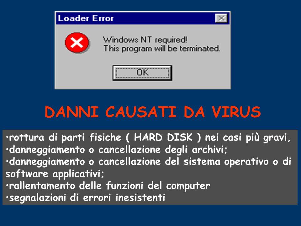 IL VIRUS contrariamente a ciò che si possa immaginare non è altro che un programma che inserito all'interno del computer fa compiere all'elaboratore o