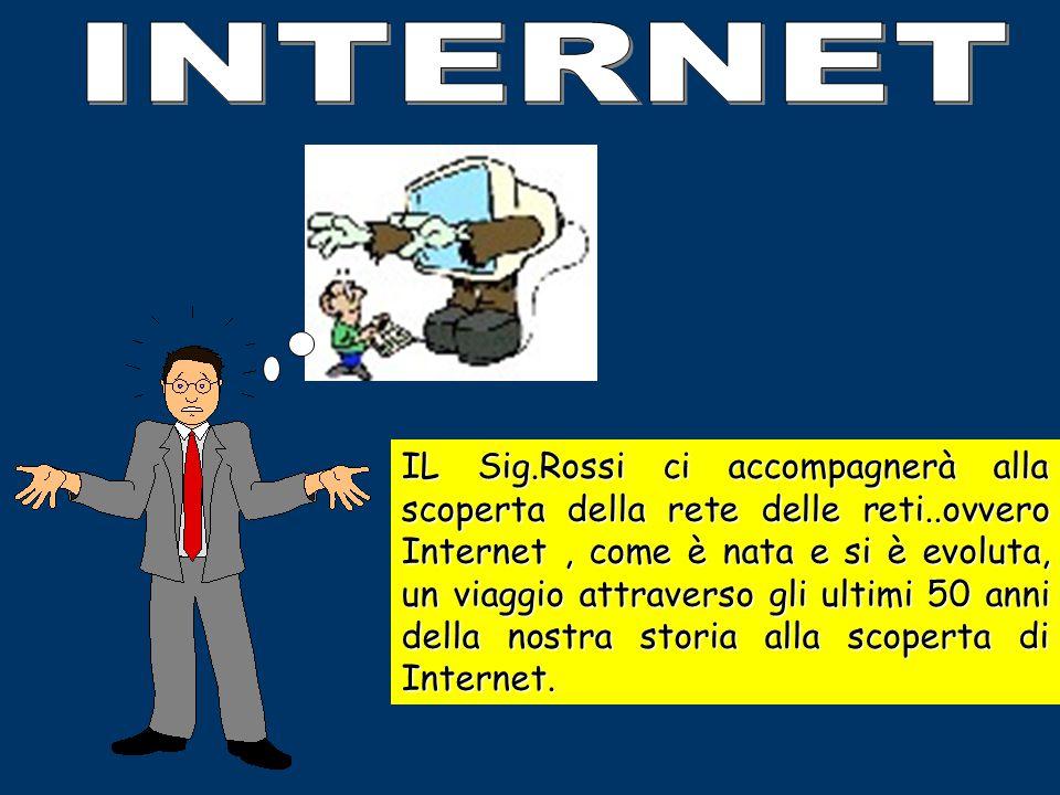 IL Sig.Rossi ci accompagnerà alla scoperta della rete delle reti..ovvero Internet, come è nata e si è evoluta, un viaggio attraverso gli ultimi 50 anni della nostra storia alla scoperta di Internet.