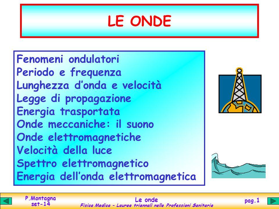P.Montagna set-14 Le onde Fisica Medica – Lauree triennali nelle Professioni Sanitarie pag.1 LE ONDE Fenomeni ondulatori Periodo e frequenza Lunghezza