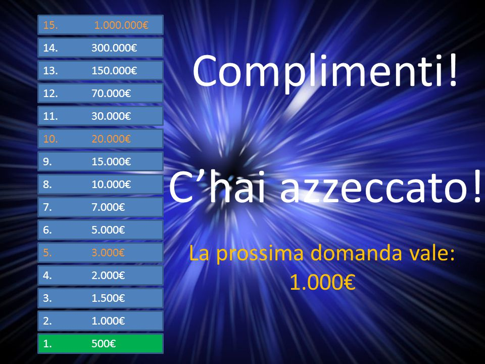 1.500€ 2.1.000€ 3.1.500€ 4.2.000€ 5.3.000€ 6.5.000€ 7.7.000€ 8.10.000€ 9.15.000€ 10.20.000€ 11.30.000€ 12.70.000€ 13.150.000€ 14.300.000€ 15.