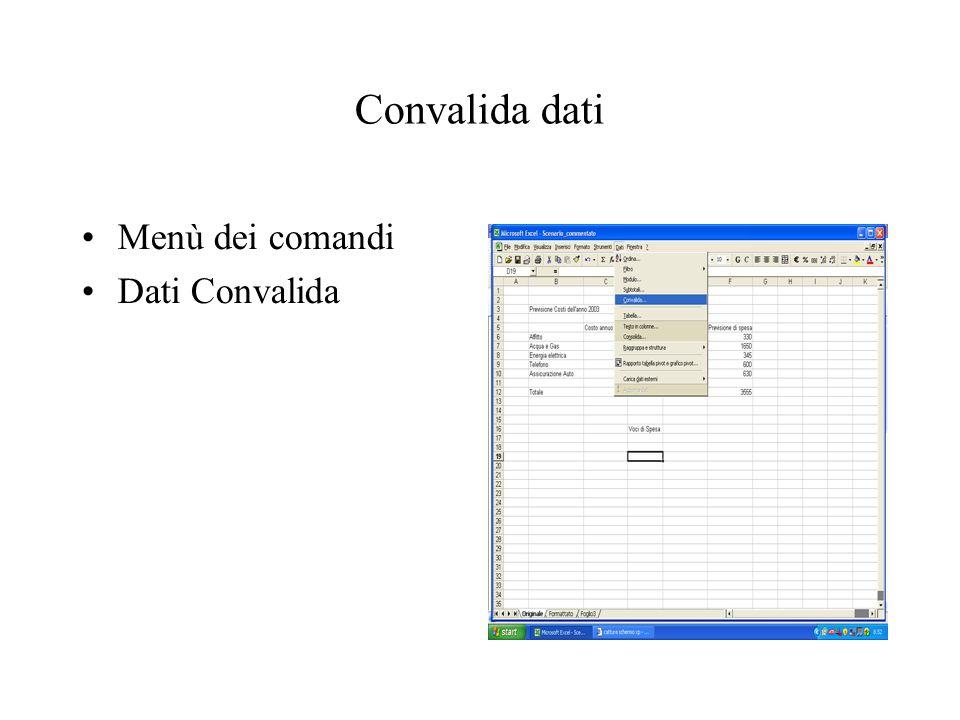 Convalida dati Menù dei comandi Dati Convalida