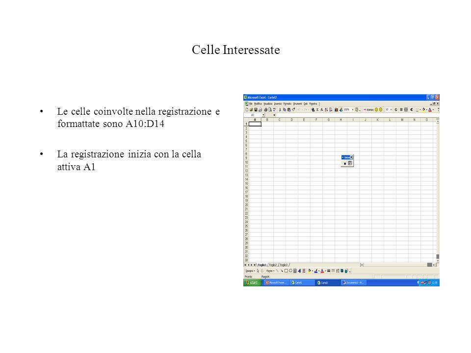 Celle Interessate Le celle coinvolte nella registrazione e formattate sono A10:D14 La registrazione inizia con la cella attiva A1