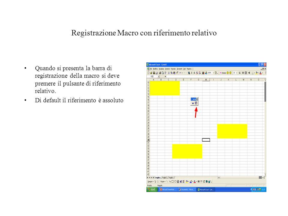 Registrazione Macro con riferimento relativo Quando si presenta la barra di registrazione della macro si deve premere il pulsante di riferimento relativo.