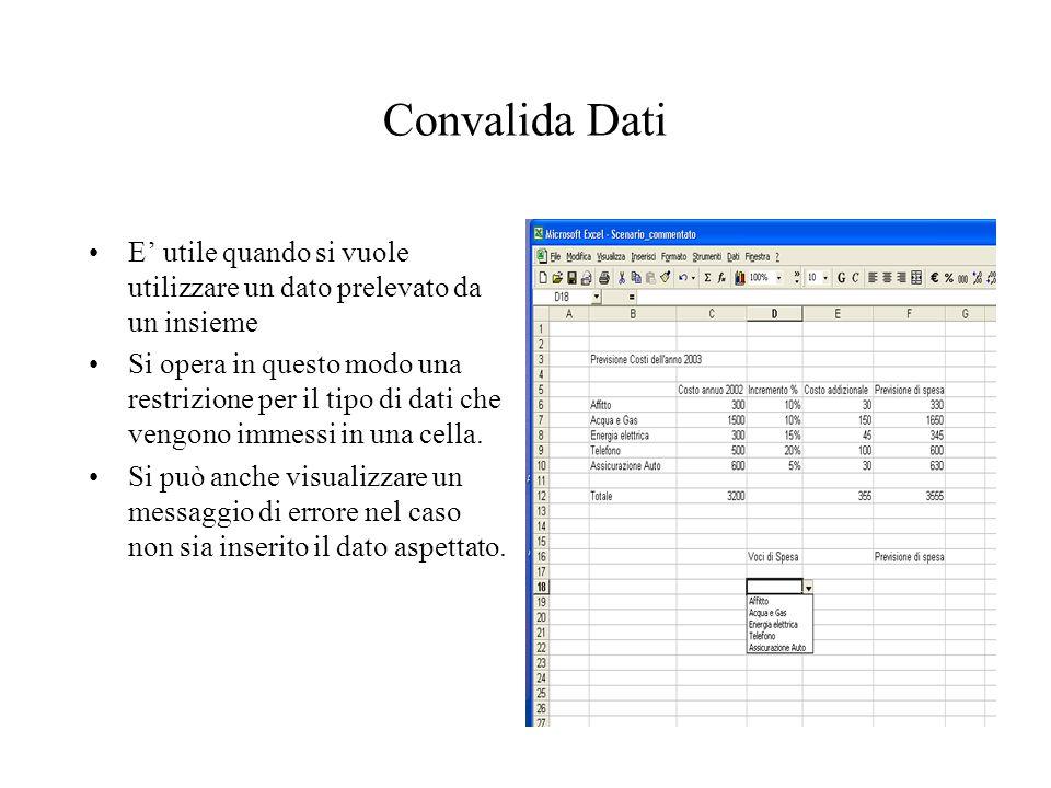 Convalida Dati E' utile quando si vuole utilizzare un dato prelevato da un insieme Si opera in questo modo una restrizione per il tipo di dati che vengono immessi in una cella.