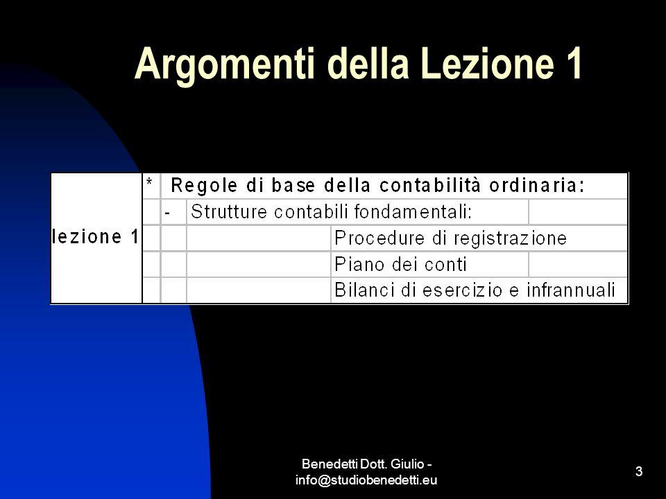 Benedetti Dott. Giulio - info@studiobenedetti.eu 4 Argomenti della Lezione 2