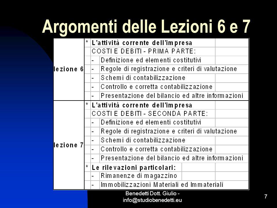 Benedetti Dott. Giulio - info@studiobenedetti.eu 7 Argomenti delle Lezioni 6 e 7