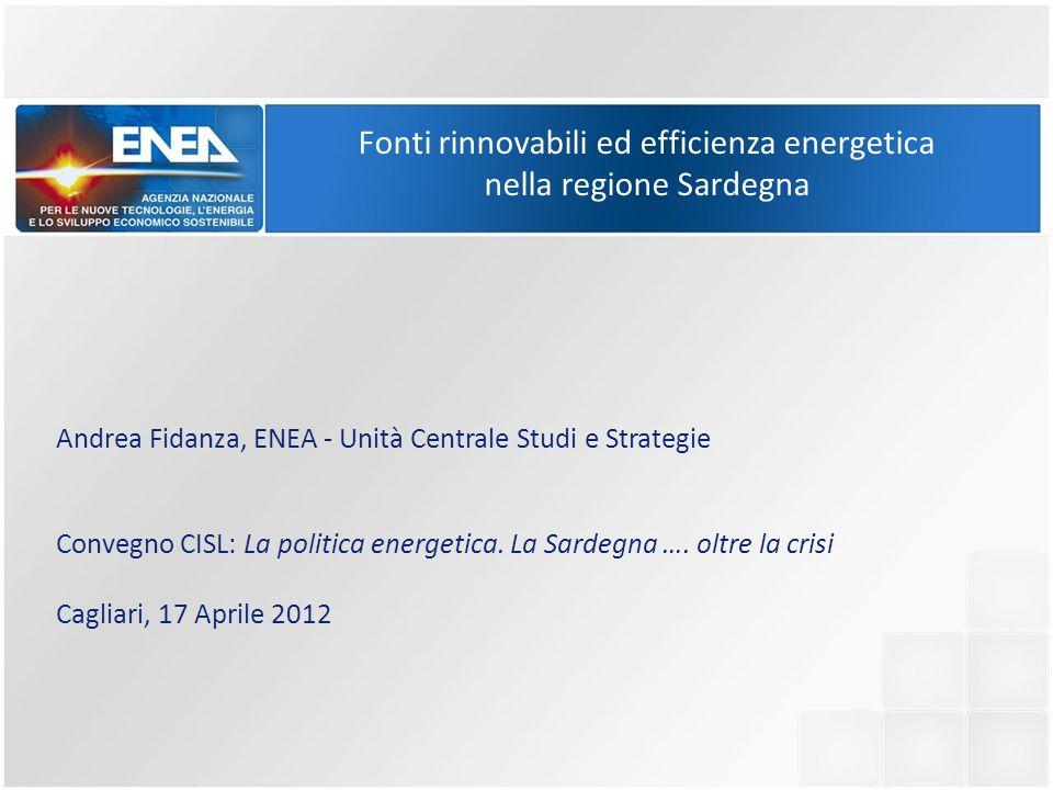 Argomenti della presentazione Scenari di sviluppo sostenibile; Il sistema energetico nazionale e quello sardo; Burden Sharing: gli obiettivi al 2020 per la Sardegna; Politiche di sviluppo nei settori delle rinnovabili; Il ruolo dell'Efficienza Energetica.