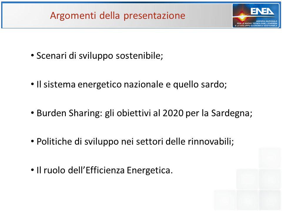 Argomenti della presentazione Scenari di sviluppo sostenibile; Il sistema energetico nazionale e quello sardo; Burden Sharing: gli obiettivi al 2020 p