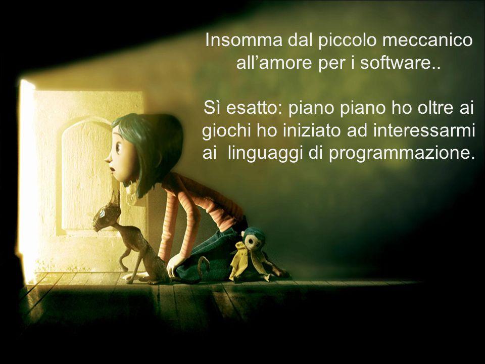 Insomma dal piccolo meccanico all'amore per i software.. Sì esatto: piano piano ho oltre ai giochi ho iniziato ad interessarmi ai linguaggi di program