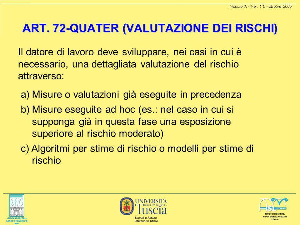 Modulo A - Ver. 1.0 - ottobre 2006 ART. 72-QUATER (VALUTAZIONE DEI RISCHI) Prima fase della valutazione (identificazione dei pericoli) a) Il Datore di