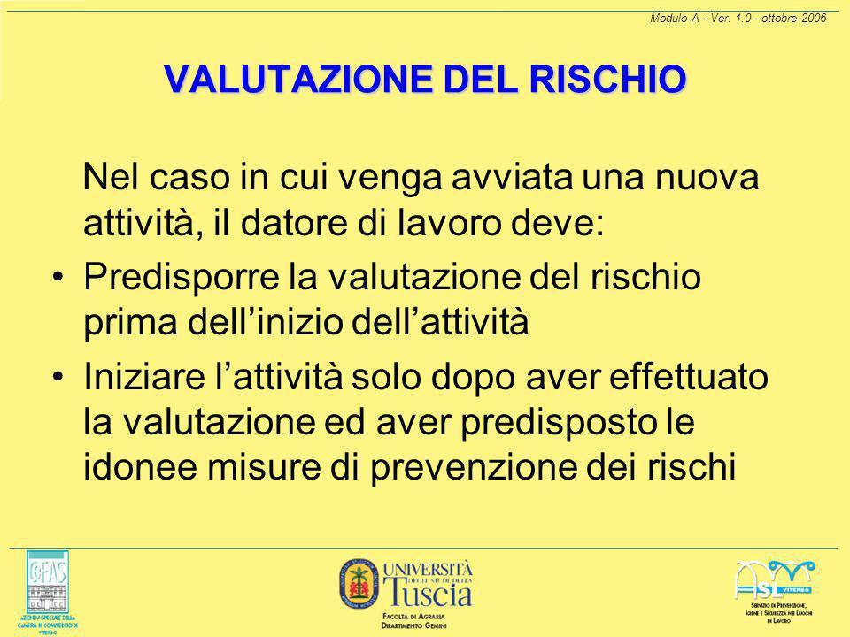 Modulo A - Ver. 1.0 - ottobre 2006 ART. 72-QUATER (VALUTAZIONE DEI RISCHI) Il datore di lavoro deve sviluppare, nei casi in cui è necessario, una dett
