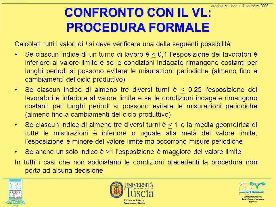 Modulo A - Ver. 1.0 - ottobre 2006 CONFRONTO CON IL VL: PROCEDURA FORMALE Se è applicabile, per ogni singola misurazione si calcola il rapporto: dove: