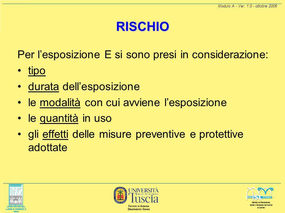Modulo A - Ver. 1.0 - ottobre 2006 RISCHIO Il rischio R per la SALUTE, determinato secondo questo modello, tiene conto dei parametri di cui all'artico