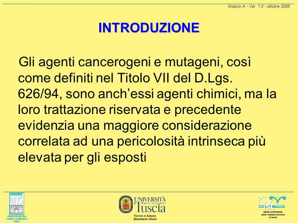 """Modulo A - Ver. 1.0 - ottobre 2006 INTRODUZIONE Il testo del D.Lgs. 25/02 è stato aggiunto al titolo VII del D.Lgs. 626/94, riguardante la """"Protezione"""