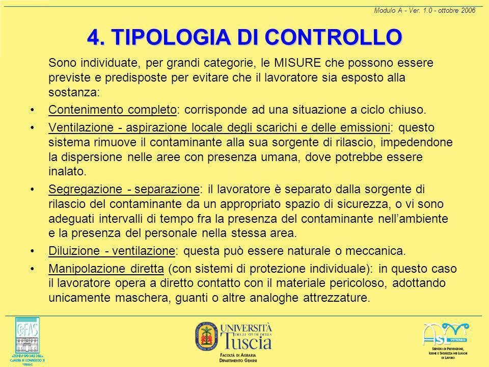 Modulo A - Ver. 1.0 - ottobre 2006 3. TIPOLOGIA D'USO Uso in sistema chiuso: La sostanza è usata e/o conservata in reattori o contenitori a tenuta sta