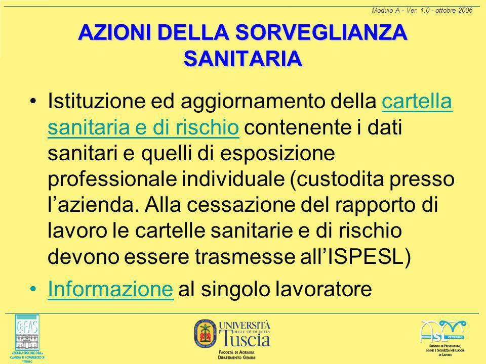 Modulo A - Ver. 1.0 - ottobre 2006 COS'È LA SORVEGLIANZA SANITARIA Accertamenti sanitari prima di adibire il lavoratore alla mansione che comporta l'e