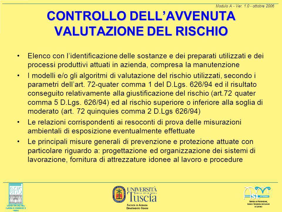 Modulo A - Ver. 1.0 - ottobre 2006 CONSEGUENZE DELLA SORVEGLIANZA SANITARIA Giudizio di idoneità Allontanamento del lavoratore Identificazione corrett