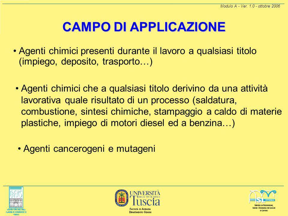 Modulo A - Ver. 1.0 - ottobre 2006 INTRODUZIONE Il D.Lgs. 25/02 stabilisce quindi l'adozione di misure generali e specifiche di prevenzione e protezio