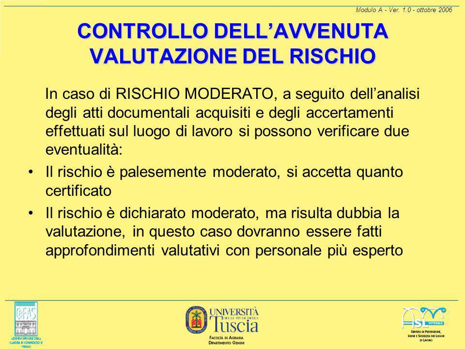 Modulo A - Ver. 1.0 - ottobre 2006 CONTROLLO DELL'AVVENUTA VALUTAZIONE DEL RISCHIO Nel caso di rischio dichiarato superiore al moderato devono essere