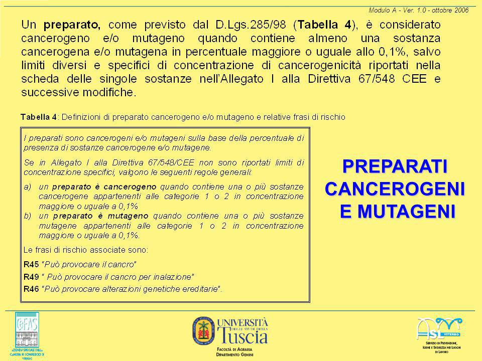 Modulo A - Ver. 1.0 - ottobre 2006 AGENTI MUTAGENI