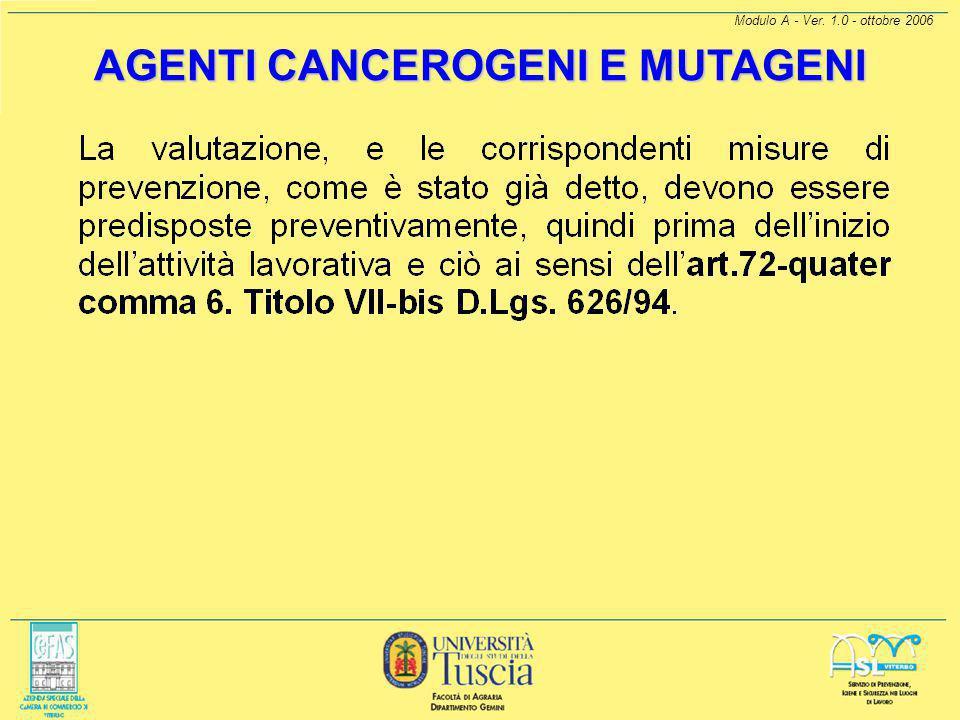 Modulo A - Ver. 1.0 - ottobre 2006 [1] Si ritiene che ai sensi del D.Lgs. 25/02 il produttore ed il fornitore siano da considerare i responsabili dell