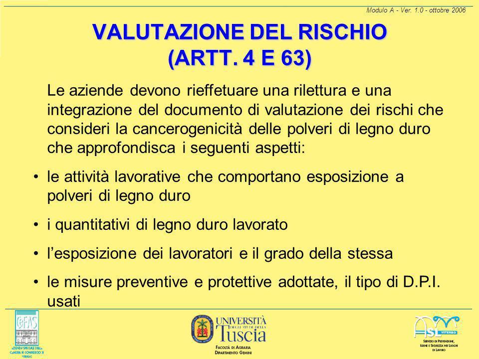 Modulo A - Ver. 1.0 - ottobre 2006 COSA FARE Sostituzione e riduzione (Art. 62) A far data dal 01/01/03 i datori di lavoro che effettuano lavorazioni