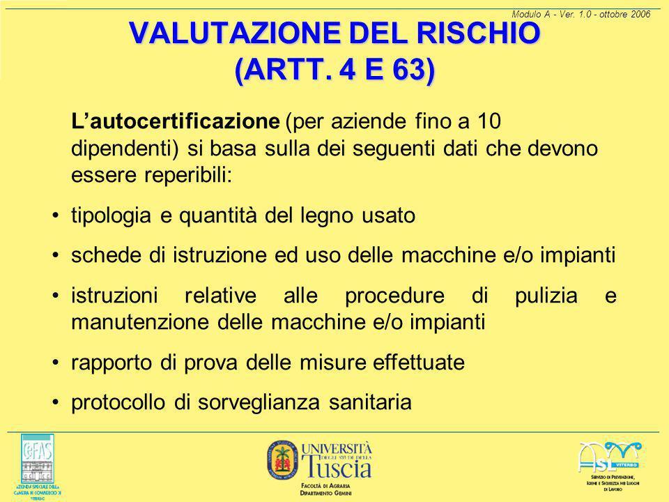 Modulo A - Ver. 1.0 - ottobre 2006 VALUTAZIONE DEL RISCHIO (ARTT. 4 E 63) Le aziende devono rieffetuare una rilettura e una integrazione del documento