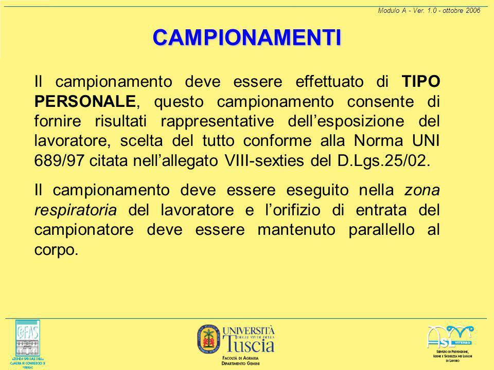 Modulo A - Ver. 1.0 - ottobre 2006 CAMPIONAMENTI Per quanto detto allo stato attuale l'unico strumento di raccolta delle particelle con le caratterist