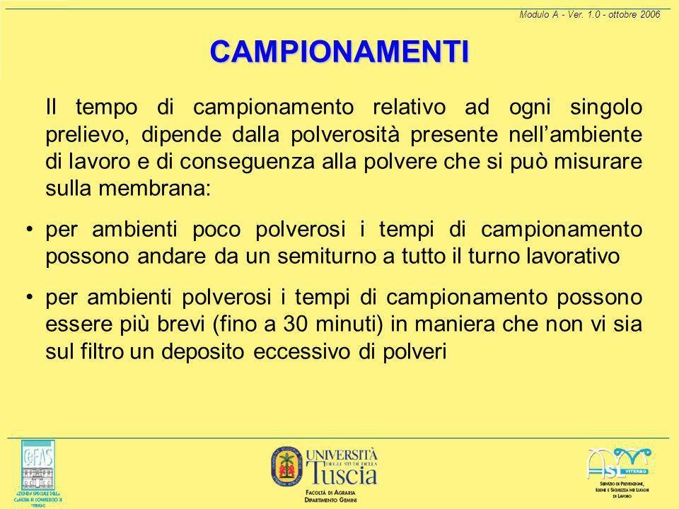 Modulo A - Ver. 1.0 - ottobre 2006 CAMPIONAMENTI Il campionamento deve essere effettuato di TIPO PERSONALE, questo campionamento consente di fornire r