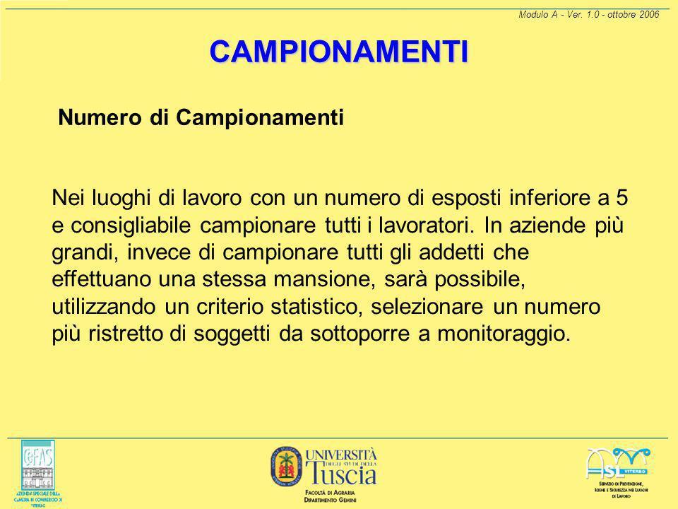 Modulo A - Ver. 1.0 - ottobre 2006 CAMPIONAMENTI Le pompe di campionamento devono essere conformi alla Norma UNI-EN 1232 e devono essere tarate con il