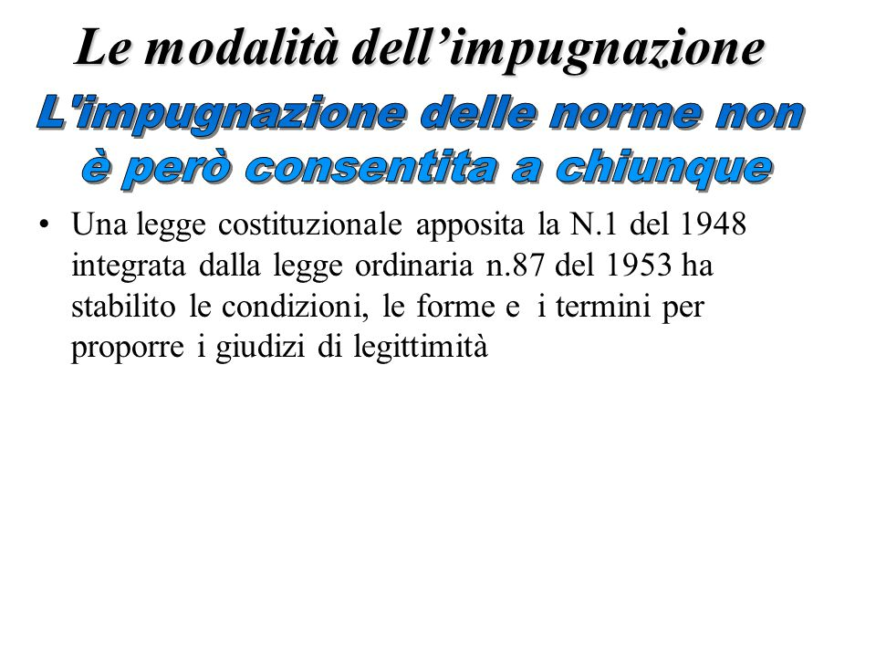 Le modalità dell'impugnazione Una legge costituzionale apposita la N.1 del 1948 integrata dalla legge ordinaria n.87 del 1953 ha stabilito le condizioni, le forme e i termini per proporre i giudizi di legittimità