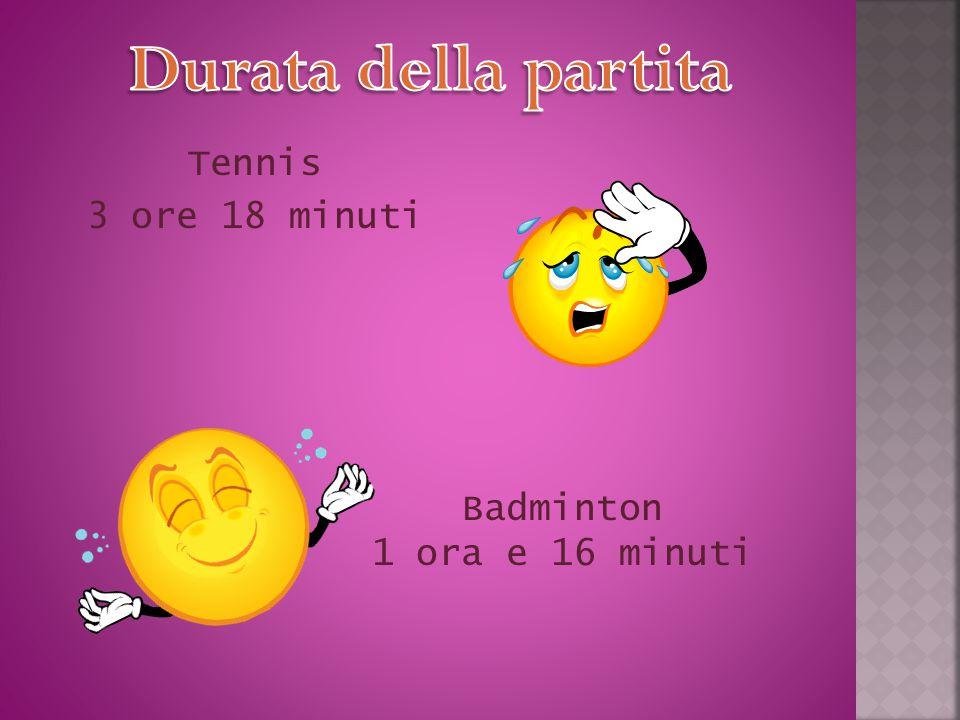 Tennis 3 ore 18 minuti Badminton 1 ora e 16 minuti