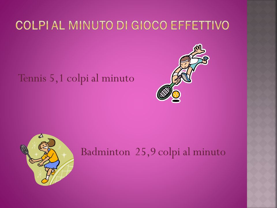 Tennis 5,1 colpi al minuto Badminton 25,9 colpi al minuto