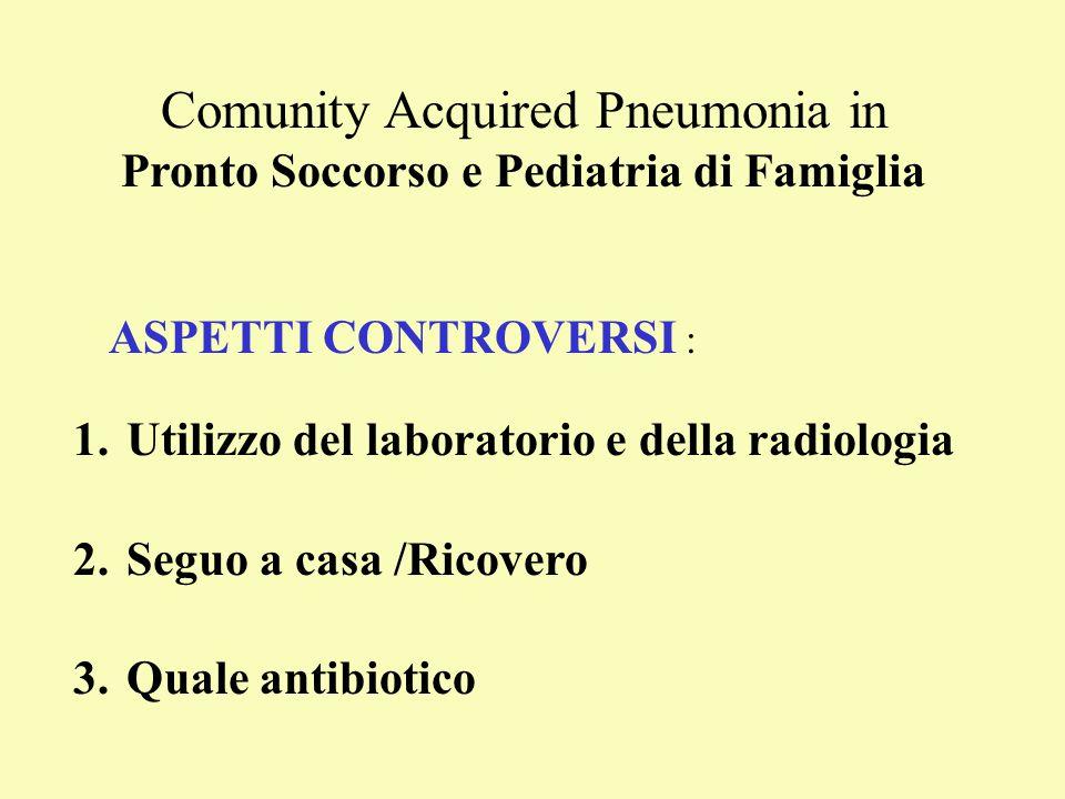 Comunity Acquired Pneumonia in Pronto Soccorso e Pediatria di Famiglia ASPETTI CONTROVERSI : 1.Utilizzo del laboratorio e della radiologia 2.Seguo a c
