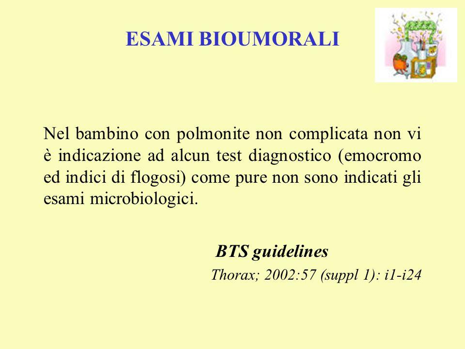 Nel bambino con polmonite non complicata non vi è indicazione ad alcun test diagnostico (emocromo ed indici di flogosi) come pure non sono indicati gl