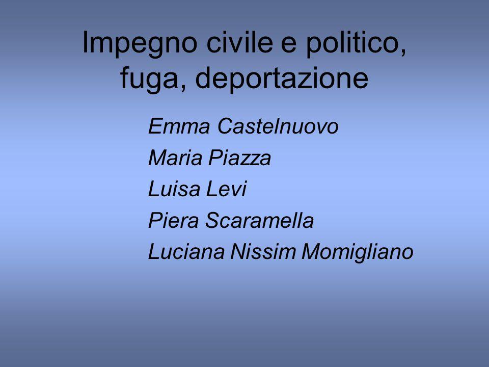 Impegno civile e politico, fuga, deportazione Emma Castelnuovo Maria Piazza Luisa Levi Piera Scaramella Luciana Nissim Momigliano